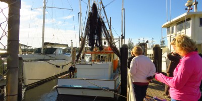 Nellie M, pulling in to sell their nice fresh catch